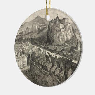 Vintage Pictorial Map of Edinburgh Scotland (1886) Round Ceramic Ornament