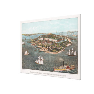 Vintage Pictorial Map of Fort Monroe Virginia Canvas Print