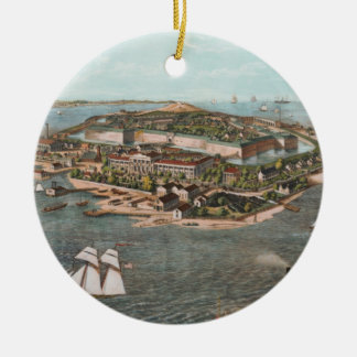 Vintage Pictorial Map of Fort Monroe Virginia Ceramic Ornament