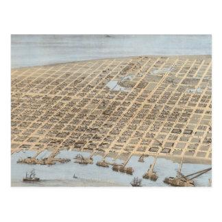 Vintage Pictorial Map of Galveston (1871) Postcard