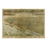 Vintage Pictorial Map of Galveston TX (1885) Poster