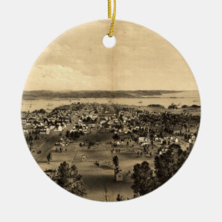 Vintage Pictorial Map of Hamilton Ontario (1859) Ceramic Ornament