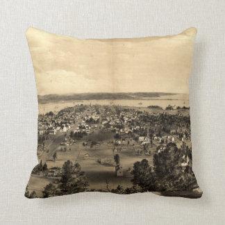 Vintage Pictorial Map of Hamilton Ontario (1859) Throw Pillow