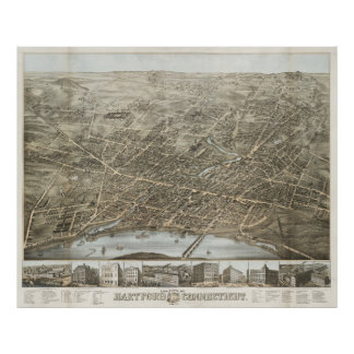 Vintage Pictorial Map of Hartford CT (1877) Poster