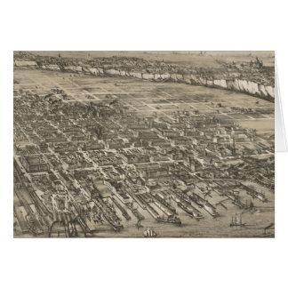 Vintage Pictorial Map of Hoboken NJ (1881) Card