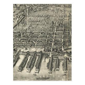 Vintage Pictorial Map of Hoboken NJ (1904) Postcard