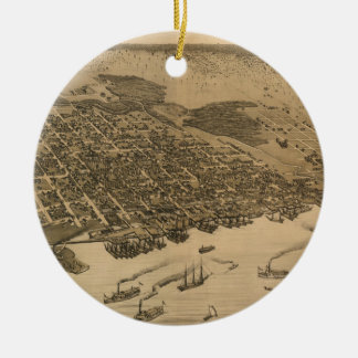 Vintage Pictorial Map of Jacksonville FL (1874) Ceramic Ornament