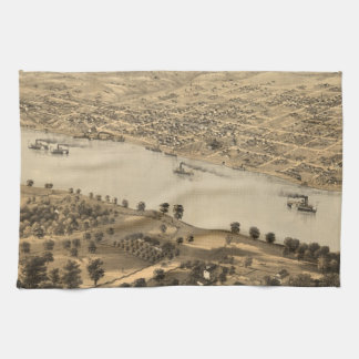 Vintage Pictorial Map of Jefferson City MO (1869) Hand Towel