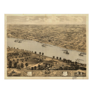 Vintage Pictorial Map of Jefferson City MO (1869) Poster