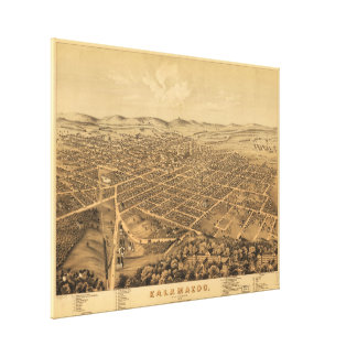 Vintage Pictorial Map of Kalamazoo Michigan (1874) Canvas Print
