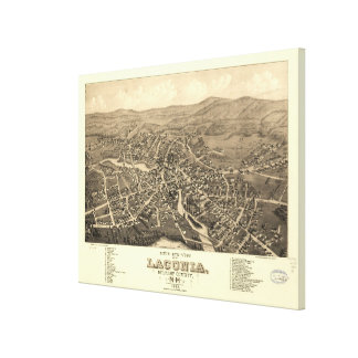 Vintage Pictorial Map of Laconia NH (1883) Canvas Print