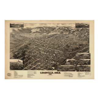 Vintage Pictorial Map of Leadville CO (1882) Poster