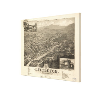 Vintage Pictorial Map of Littleton NH (1883) Canvas Print