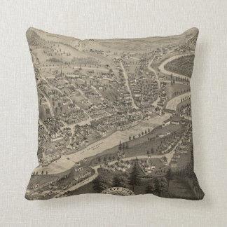 Vintage Pictorial Map of Littleton NH (1883) Throw Pillow