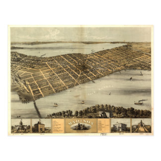 Vintage Pictorial Map of Madison Wisconsin (1867) Postcard