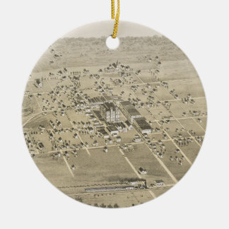 Vintage Pictorial Map of McKinney Texas (1876) Ceramic Ornament