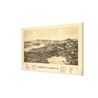 Vintage Pictorial Map of Meredith NH (1899) Canvas Print