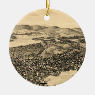 Vintage Pictorial Map of Meredith NH (1899) Ceramic Ornament