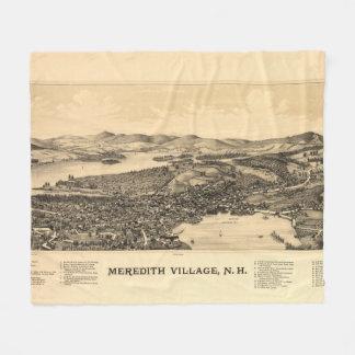 Vintage Pictorial Map of Meredith NH (1899) Fleece Blanket