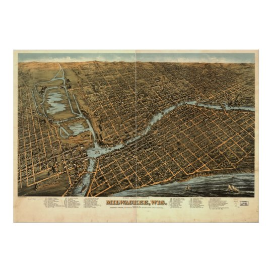 Vintage Pictorial Map of Milwaukee (1872) Poster