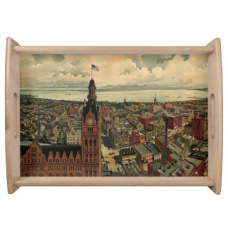 Vintage Pictorial Map of Milwaukee WI 1898 Serving Tray