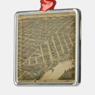 Vintage Pictorial Map of Montgomery Alabama (1887) Silver-Colored Square Ornament
