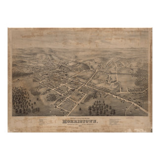 Vintage Pictorial Map of Morristown NJ (1876) Poster