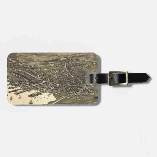 Vintage Pictorial Map of Nantucket (1881) Luggage Tag