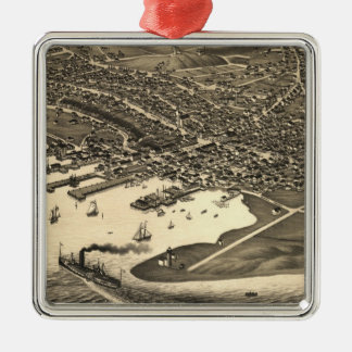Vintage Pictorial Map of Nantucket (1881) Silver-Colored Square Ornament