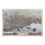 Vintage Pictorial Map of New Bedford MA (1876) Poster