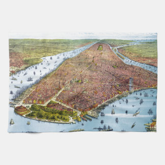 Vintage Pictorial Map of New York City (1879) Kitchen Towel