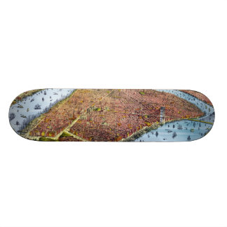 Vintage Pictorial Map of New York City (1879) Skateboards