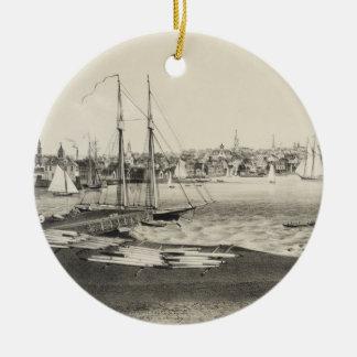Vintage Pictorial Map of Newport RI (1860) Ceramic Ornament