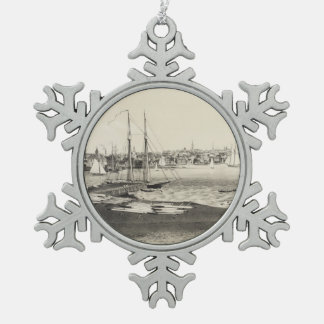 Vintage Pictorial Map of Newport RI (1860) Snowflake Pewter Christmas Ornament