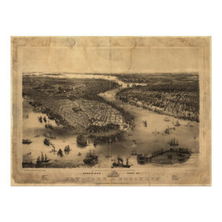 Vintage Pictorial Map of NYC and Brooklyn (1851) Poster