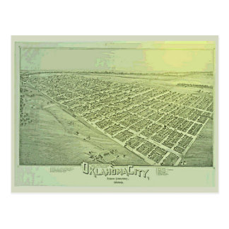 Vintage Pictorial Map of Oklahoma City in 1890 Postcard