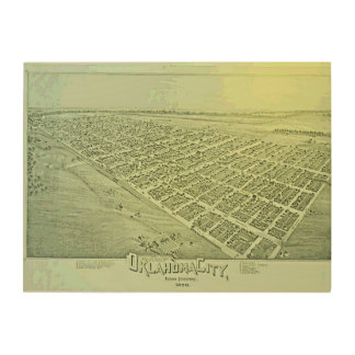 Vintage Pictorial Map of Oklahoma City in 1890 Wood Wall Art
