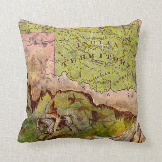 Vintage Pictorial Map of Oklahoma Indian Territory Throw Pillow