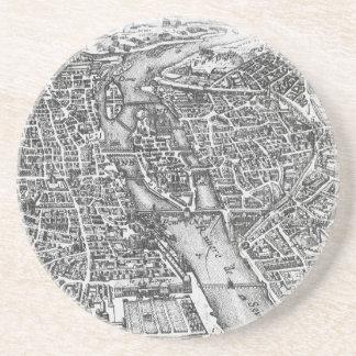 Vintage Pictorial Map of Paris (17th Century) Coaster