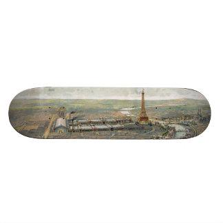 Vintage Pictorial Map of Paris (1900) Skate Deck