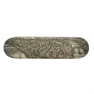 Vintage Pictorial Map of Pittsburgh 1902 Skateboard