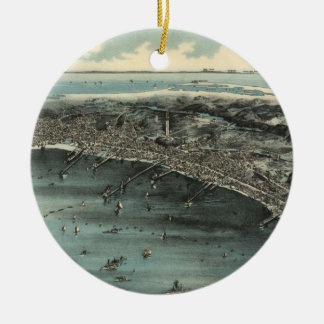 Vintage Pictorial Map of Provincetown (1910) Ceramic Ornament