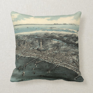 Vintage Pictorial Map of Provincetown (1910) Throw Pillow