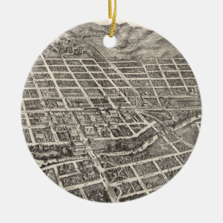 Vintage Pictorial Map of Reno Nevada (1907) Ceramic Ornament