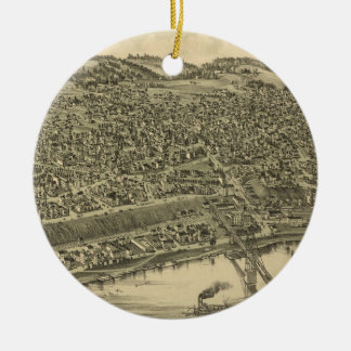 Vintage Pictorial Map of Rochester PA (1900) Ceramic Ornament