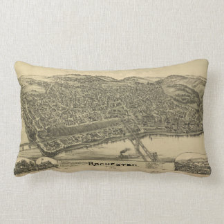 Vintage Pictorial Map of Rochester PA (1900) Lumbar Pillow