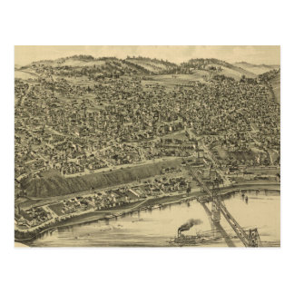 Vintage Pictorial Map of Rochester PA (1900) Postcard