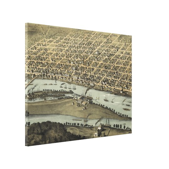 Vintage Pictorial Map of Saginaw Michigan (1867) Canvas Print