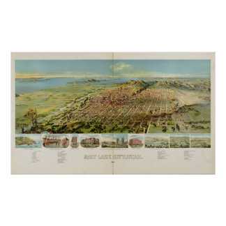 Vintage Pictorial Map of Salt Lake City (1891) Poster