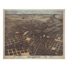 Vintage Pictorial Map of San Antonio TX (1873) Poster